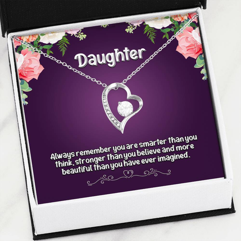 ShineOn Fulfillment Jewelry 14k White Gold Finish Daughter Always Remember Forever Necklace