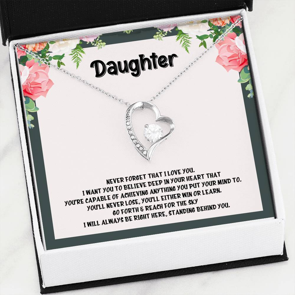 ShineOn Fulfillment Jewelry 14k White Gold Finish Daughter I'm Always Here Forever Necklace