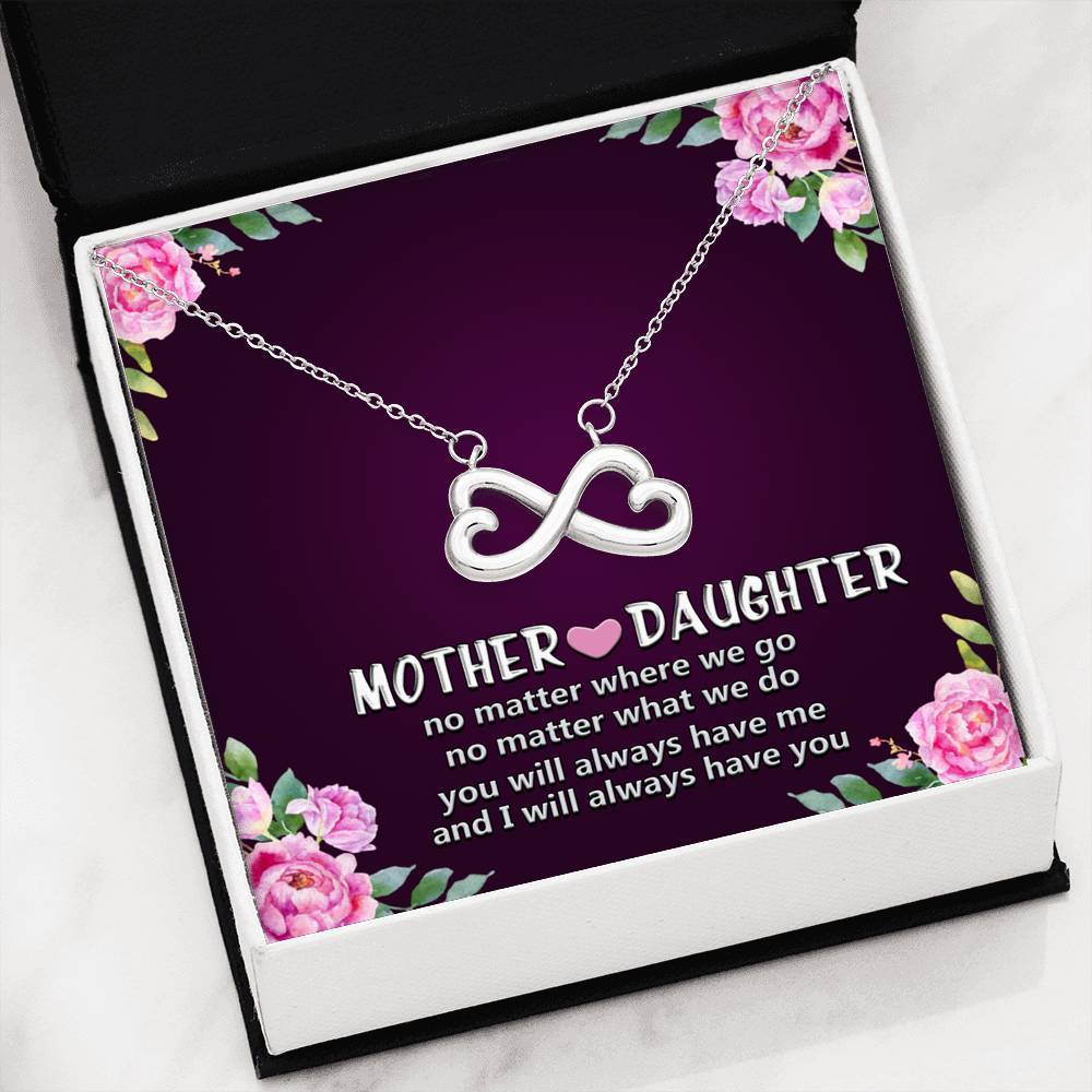 ShineOn Fulfillment Jewelry 14k White Gold Finish Mother and Daughter Infinity Necklace