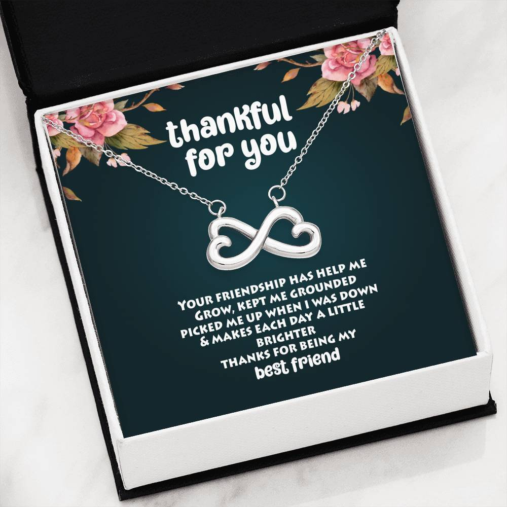 ShineOn Fulfillment Jewelry 14k White Gold Finish Thankful For You Infinity Necklace