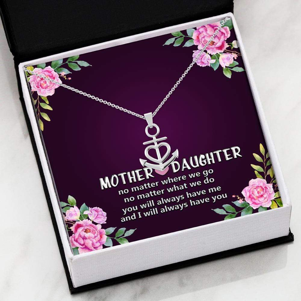 ShineOn Fulfillment Jewelry .316 Surgical Steel Necklace Mother and Daughter Anchor Necklace