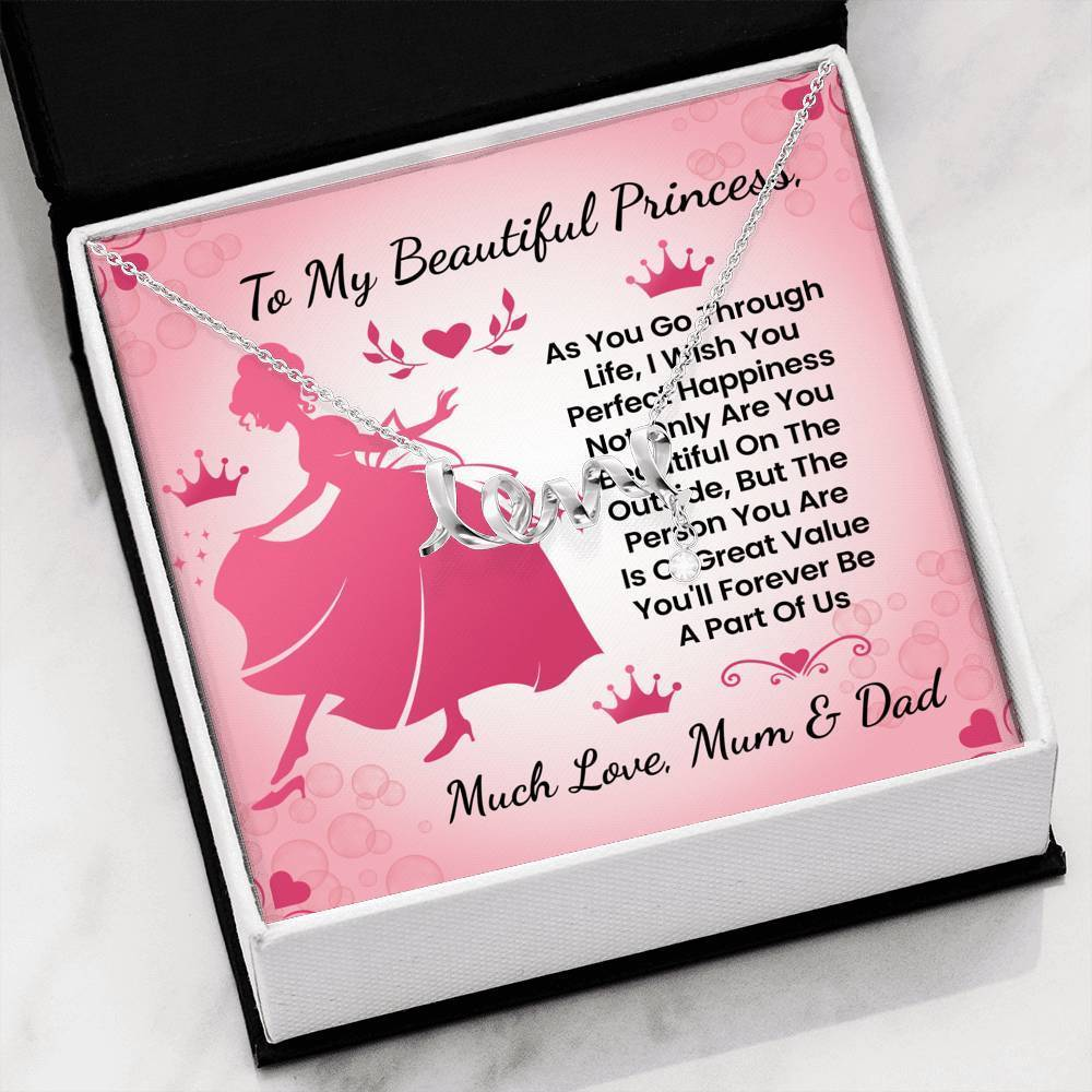 ShineOn Fulfillment Jewelry Beautiful Princess Scripted Necklace