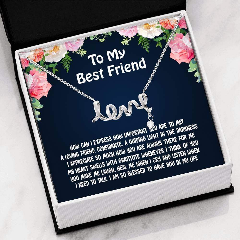 ShineOn Fulfillment Jewelry High Polished .316 Surgical Steel Scripted Love Love My Best Friend Scripted Necklace
