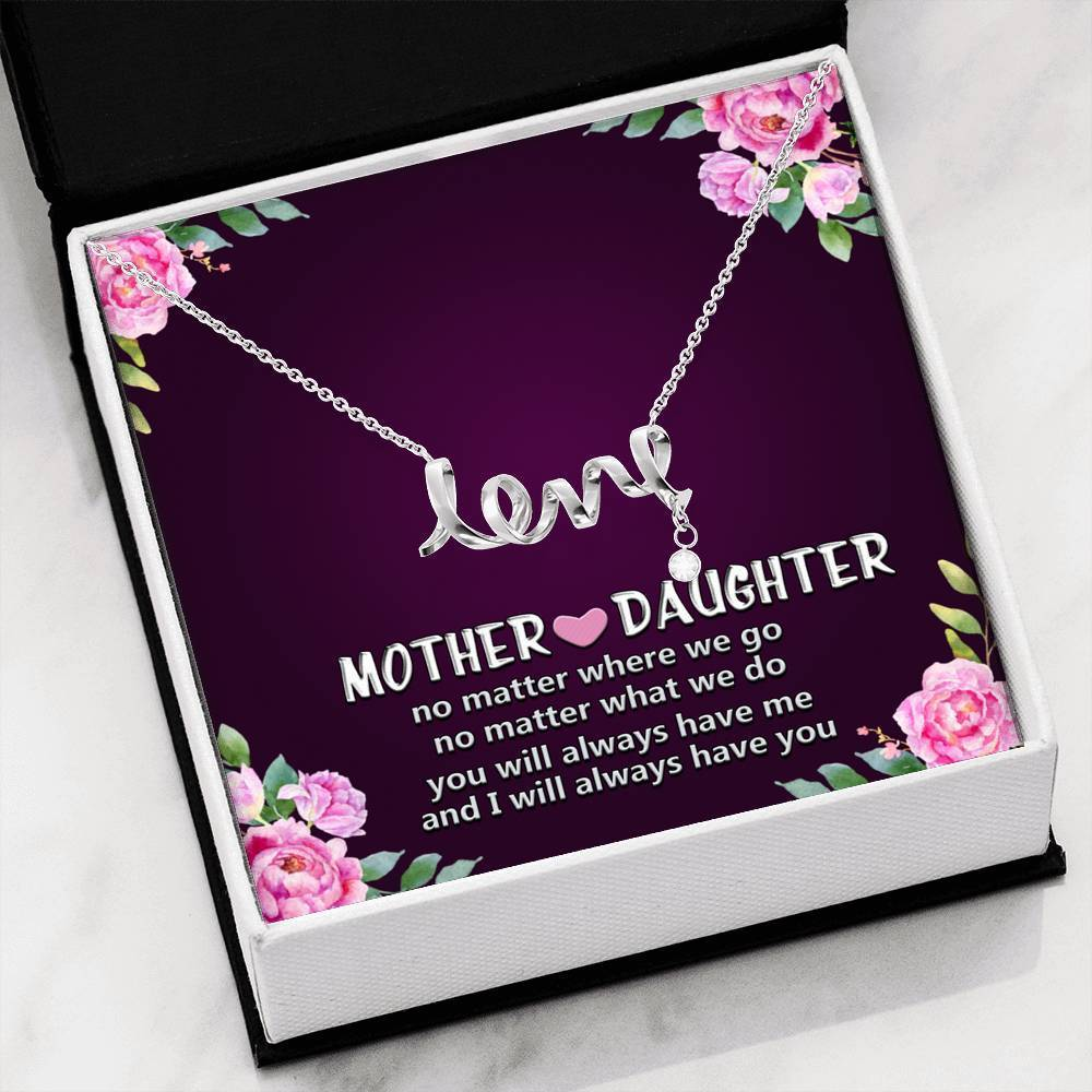 ShineOn Fulfillment Jewelry High Polished .316 Surgical Steel Scripted Love Mother and Daughter Scripted Necklace