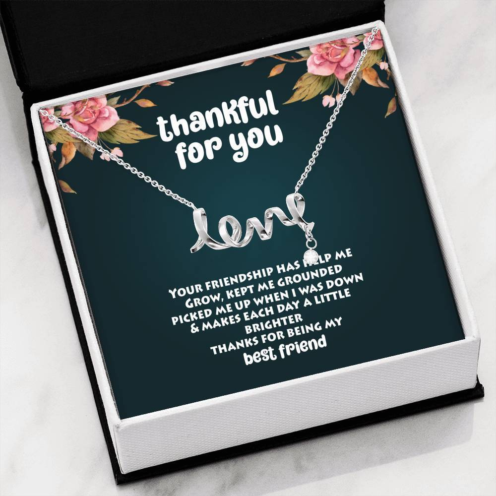 ShineOn Fulfillment Jewelry High Polished .316 Surgical Steel Scripted Love Thankful For You Scripted Necklace