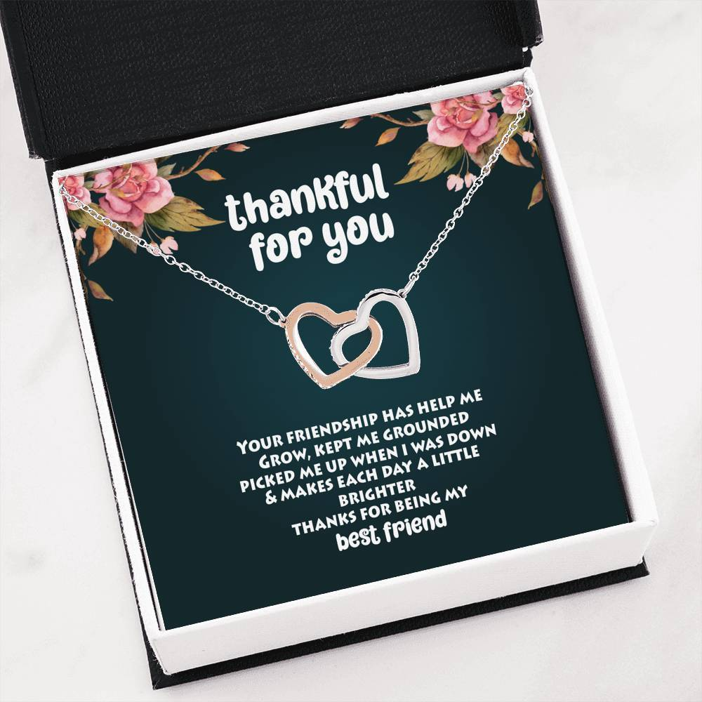 ShineOn Fulfillment Jewelry Interlocking Heart Necklace Thankful For You Interlocking Necklace