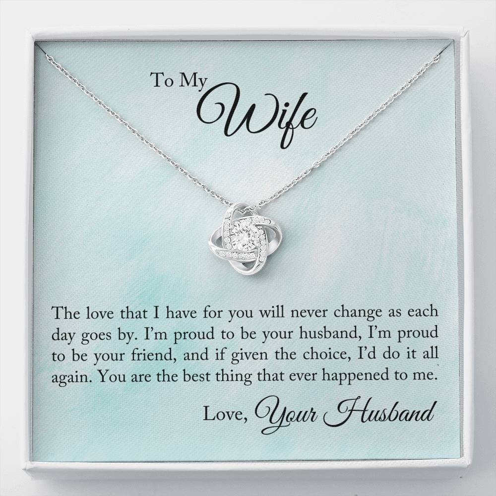 ShineOn Fulfillment Jewelry Standard Box Proud To Be Your Husband Love Knot Necklace