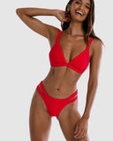 Positano - Red Strawberry Triangle Bikini Top