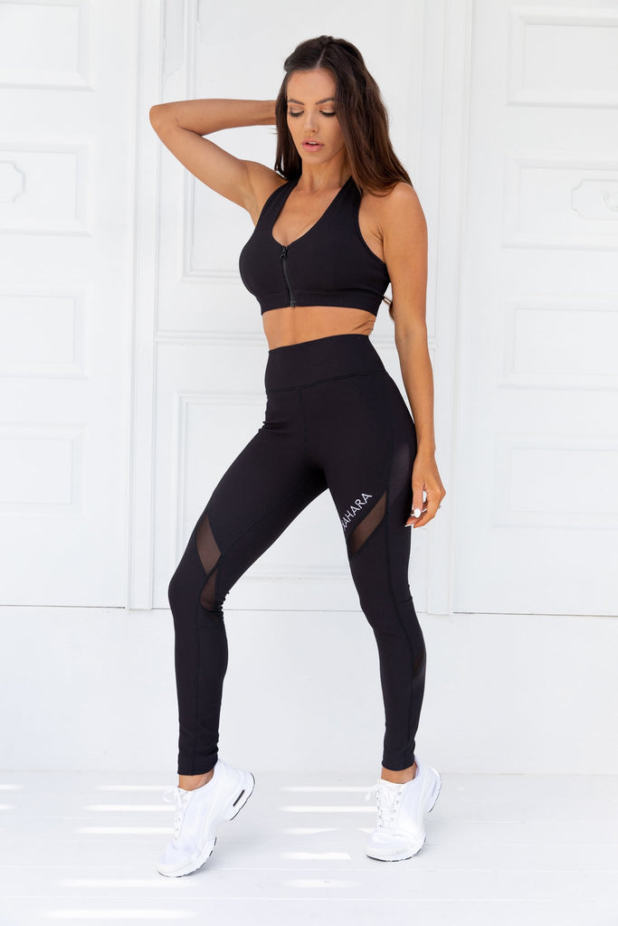 Knockout Black Ribbed Sports Bra