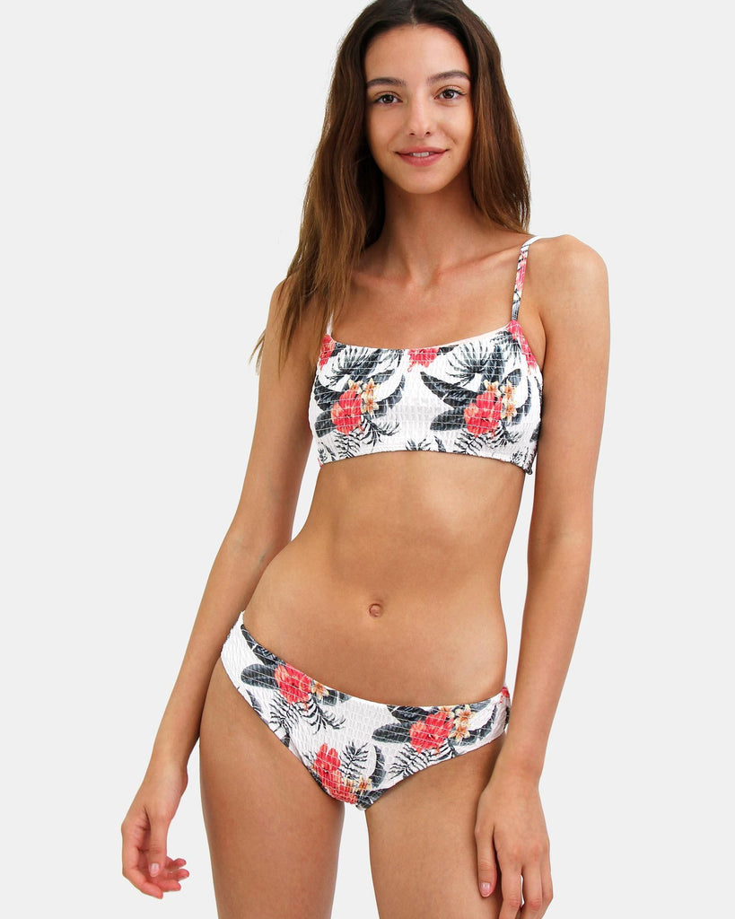Havana Ribbed Bikini Swim Bottom - Floral Print
