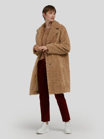 BLÜMLEIN & LANG RITA Teddy-look Faux Fur Coat