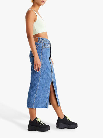 LEVIS BUTTON FRONT MIDI SKIRT