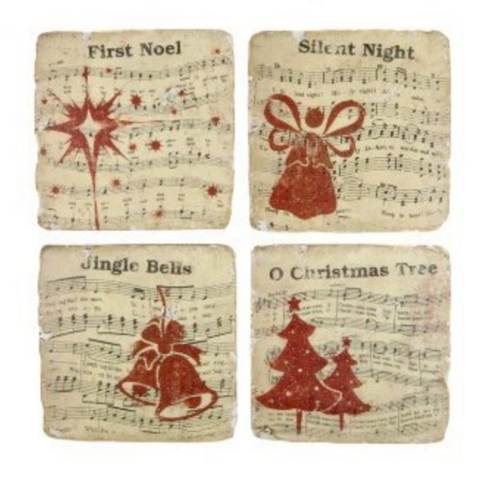 London Ornaments Christmas Carol Coasters