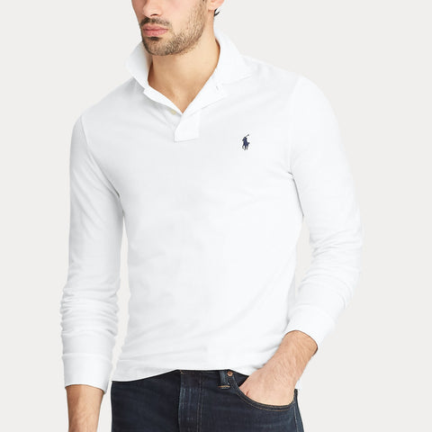 Slim Fit Mesh Long-Sleeve Polo White