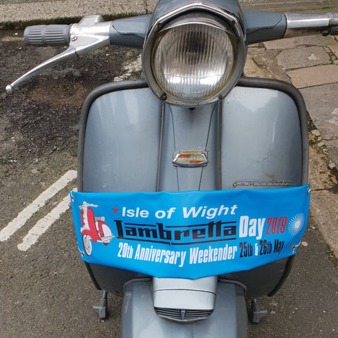 Isle of Wight Lambretta Day 20th Anniversary Scooter Legsheild banner 2019