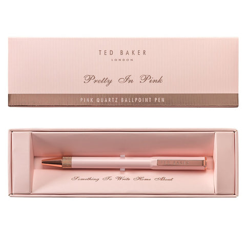 Ted Baker Premium Ballpoint Pen in Box - Pink Quartz