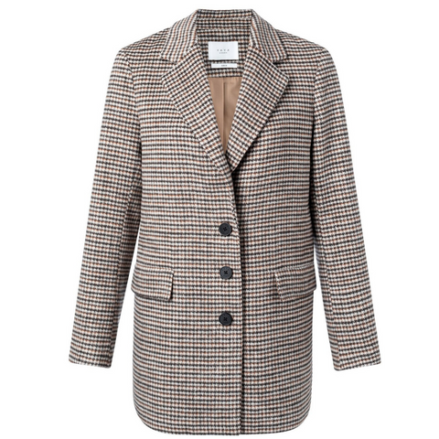 YAYA Dusty Toffee Checked Blazer
