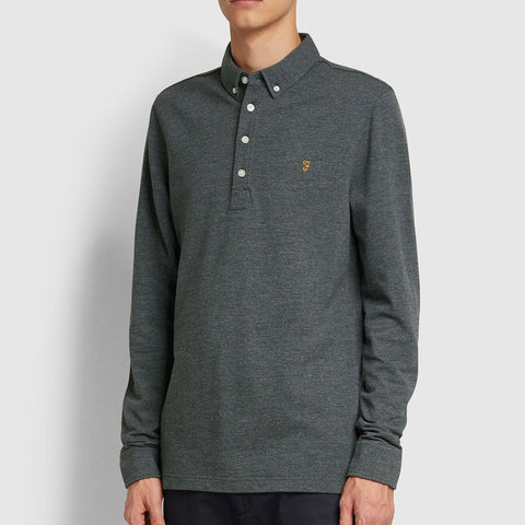 Farah Vintage Ricky Slim Fit Long Sleeve Polo Shirt In Farah Grey Marl