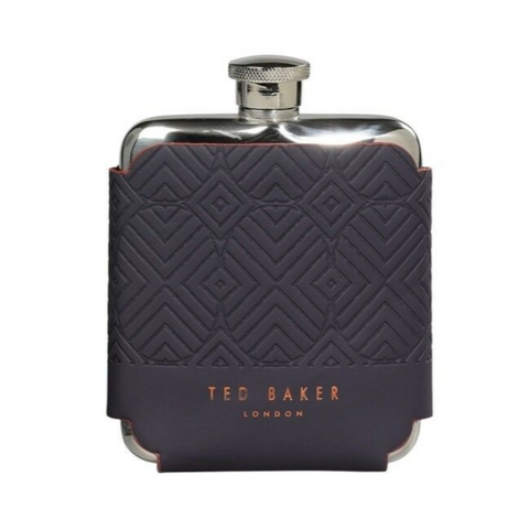 Ted Baker Stainless Steel Hip Flask - Cadet Blue Geo