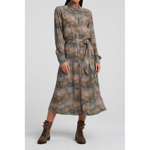 YAYA Maxi shirt dress with belt and print