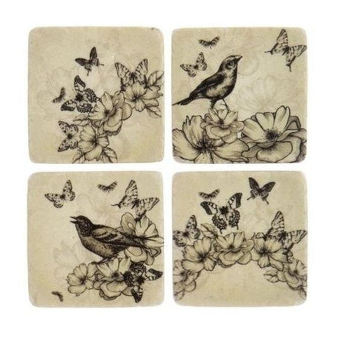 London Ornaments Ceramic Coasters - Bird & Butterfly