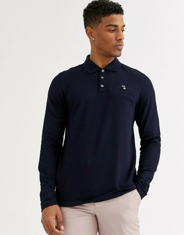 TED BAKER Recline Honeycomb Texture Polo Shirt - Navy