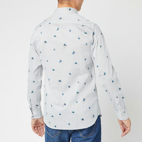 TED BAKER Richrd Slim Fit Floral Shirt - White