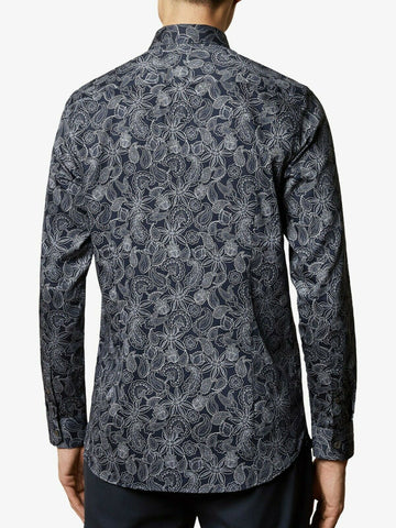 TED BAKER Forsure Paisley Print Long Sleeve Shirt - Navy