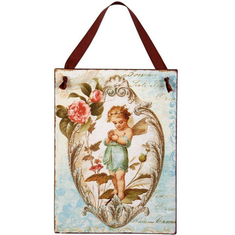 London Ornaments Hanging Metal Cherub Sign