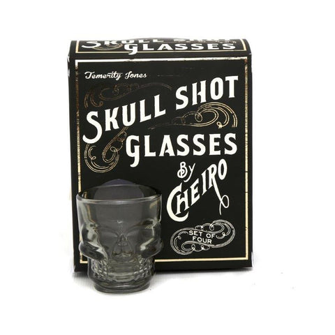Temerity Jones Set of 4 Skull Shot Glasses