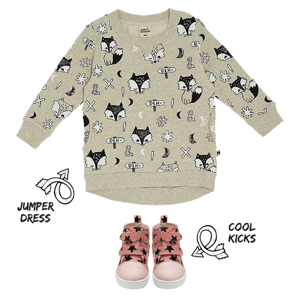 Team Milk and Masuki's Fox Dreaming Jumper Dress with Love Luck & Wonder's Pink Star Hi Tops for a cool vibe