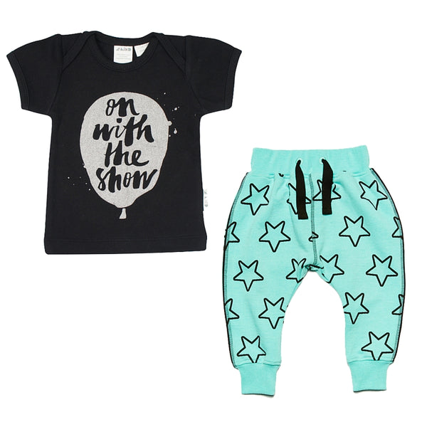 #onwiththeshow in Anarkid's Ballon Tee and Boys&Girls Starline Harem trousers