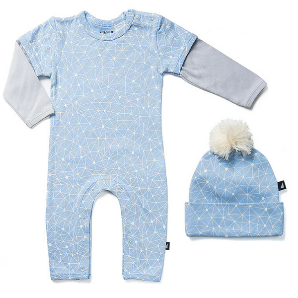 Anarkid Organic's Galaxy Long Sleeve Romper with Pom Pom Beanie