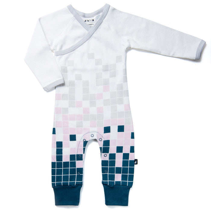 The Block Crossover Long Sleeve Bodysuit in Pink by Anarkid Organic at Small to TALL