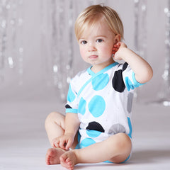 The Cirkel Kimono short sleeve onesie in blue by Anarkid Organic