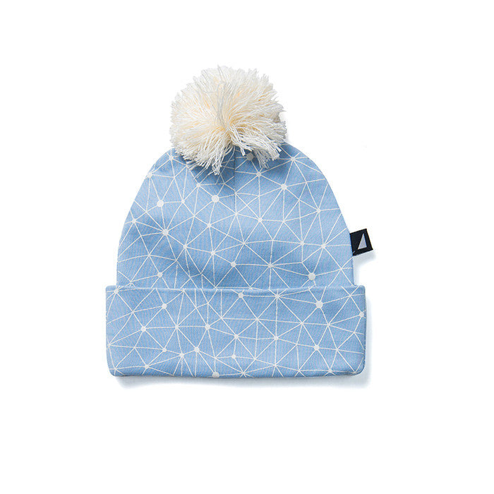Anarkid Organic's Galaxy Pom Pom Beanie in Blue available at Small to TALL