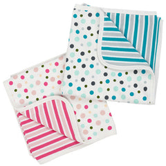 Moon Stripe Baby Blanket in Blue and Pink by Piccalilly uk at Small to TALL