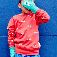 We can see you! Get the eyes sweatshirt crew by Boys&Girls at Small to TALL