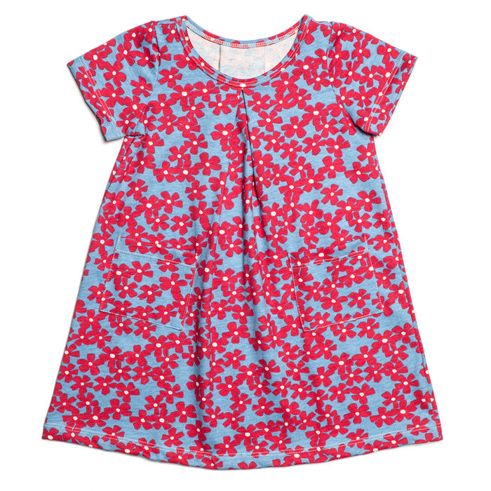 Adelaide Dress - Coral & Blue Blooming Garden