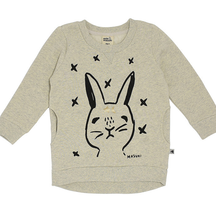The Rabbit Oracle brushed organic cotton Jumper Dress by Milk and Masuki at Small to TALL