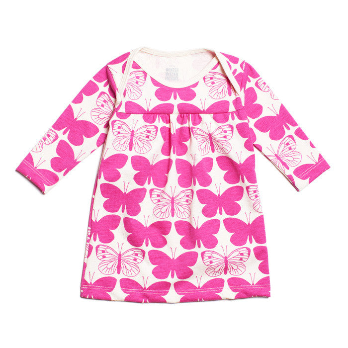 The Winter Water Factory Rocking Horse Baby Dress in magenta butterfly print at Small to TALL