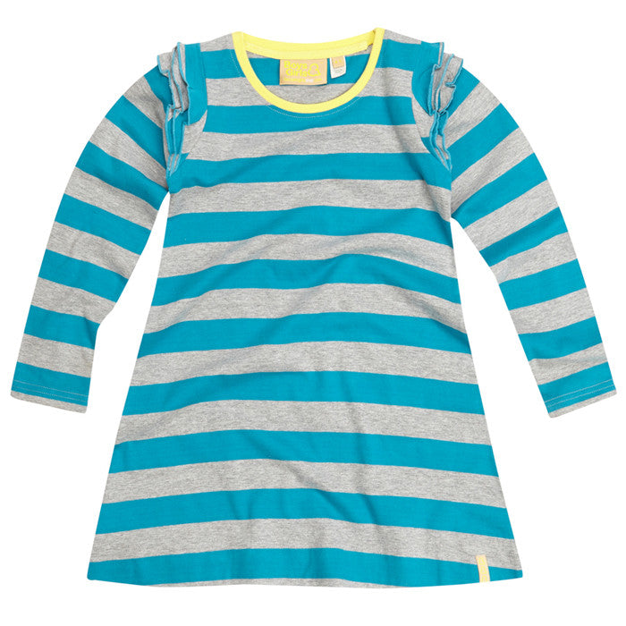 Teal Stripe Frill Sleeve Dress by London kid's clothing label Boys&Girls at Small to TALL