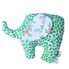Our baby elephant soft toys are handmade with recycled vintage fabric and stuffed with non-allergenic polyfill.