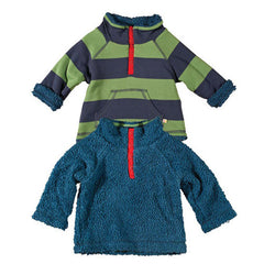 Lichen Stripe Reversible Snuggle Fleece by Frugi at Small to TALL