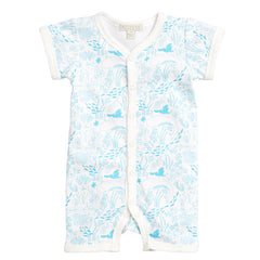 The beautiful under the sea jumpsuit features a turquoise hand illustrated print on 100% cotton.