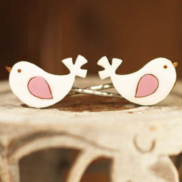 Pink bird hairclips by Bok Bok B'Gerk at Small to TALL
