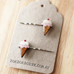 Strawberry Ice Cream Hairclips by Bok Bok B'Gerk at Small to TALL