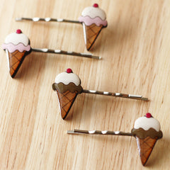 Ice Cream hairclips come in two flavours, chocolate and strawberry