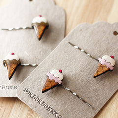 Bok Bok B'Gerk's Ice Cream Hairclips come in two flavours, strawberry and chocolate