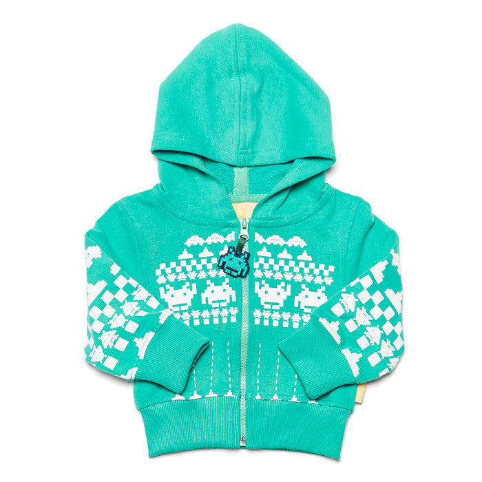 This baby hoodie features a retro argyle space invaders print on 100% organic cotton